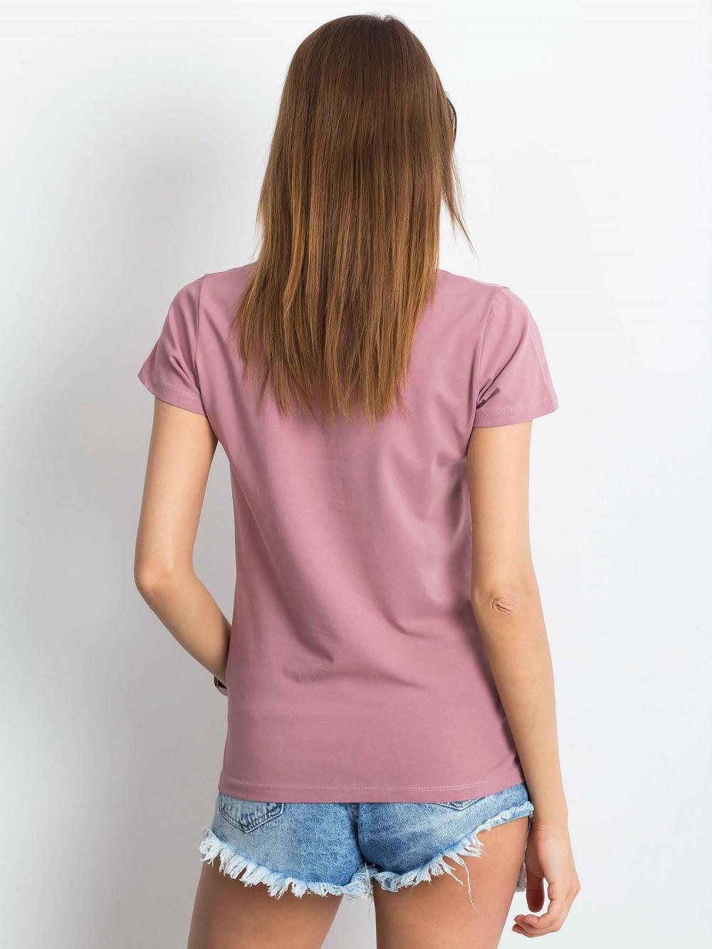 Brudnoróżowy t-shirt z dekoltem V-Neck Amy 3