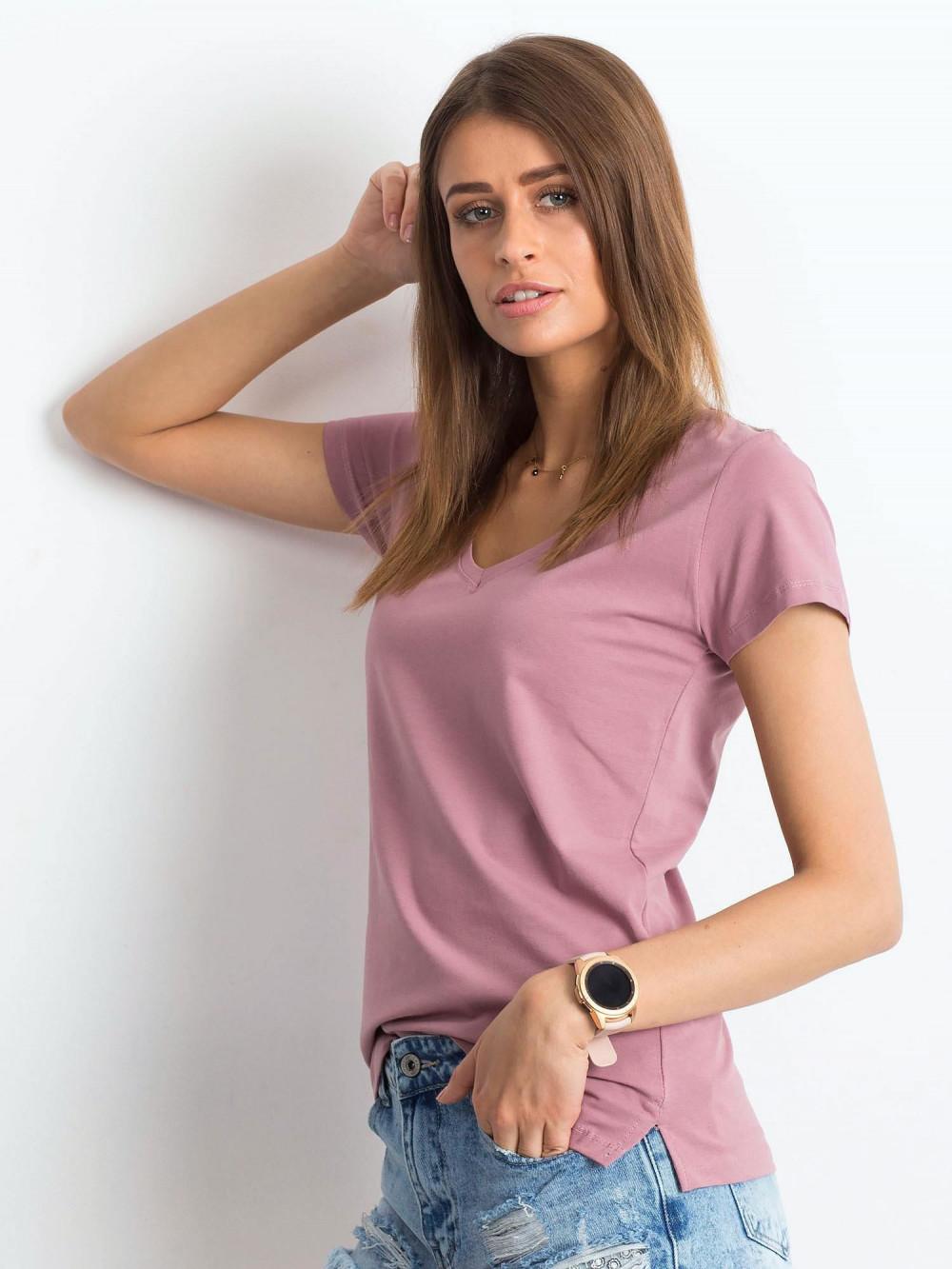Brudnoróżowy t-shirt z dekoltem V-Neck Amy 2