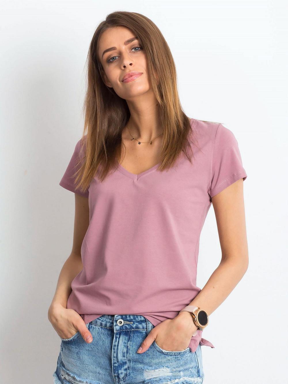 Brudnoróżowy t-shirt z dekoltem V-Neck Amy 1