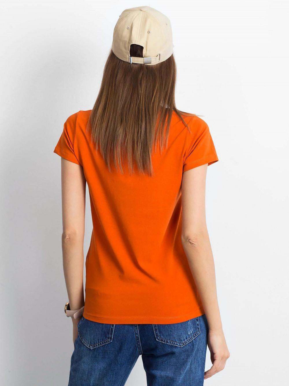 Ciemnopomarańczowy t-shirt z dekoltem V-Neck Amy 3