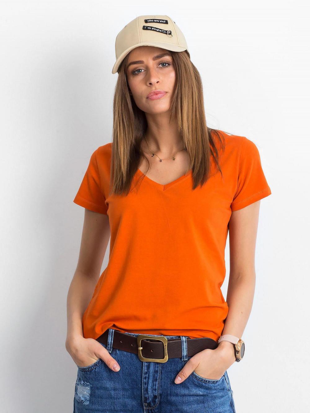 Ciemnopomarańczowy t-shirt z dekoltem V-Neck Amy 1