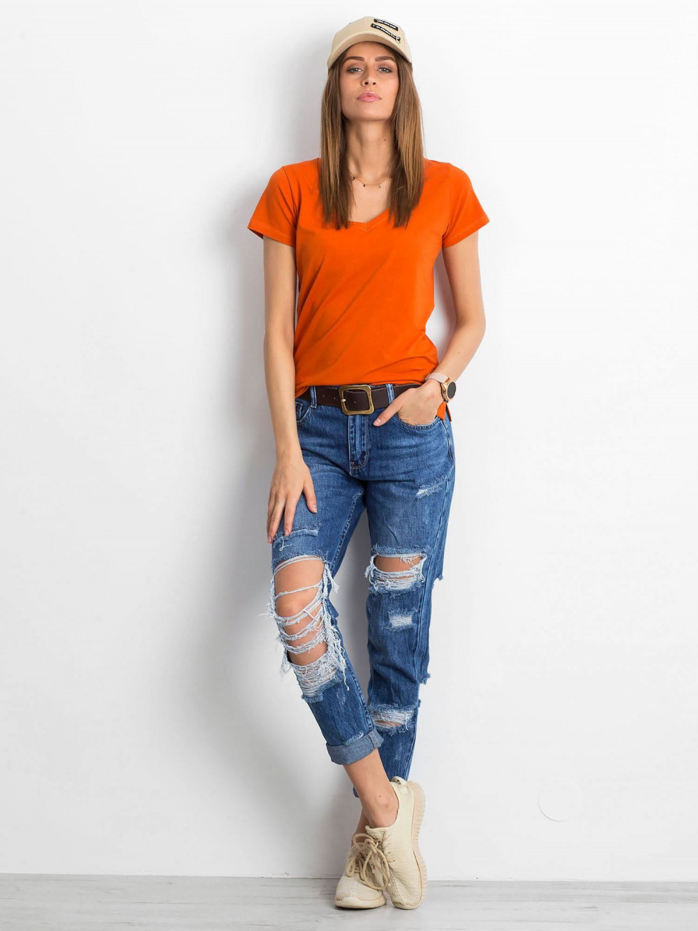 Ciemnopomarańczowy t-shirt z dekoltem V-Neck Amy 4