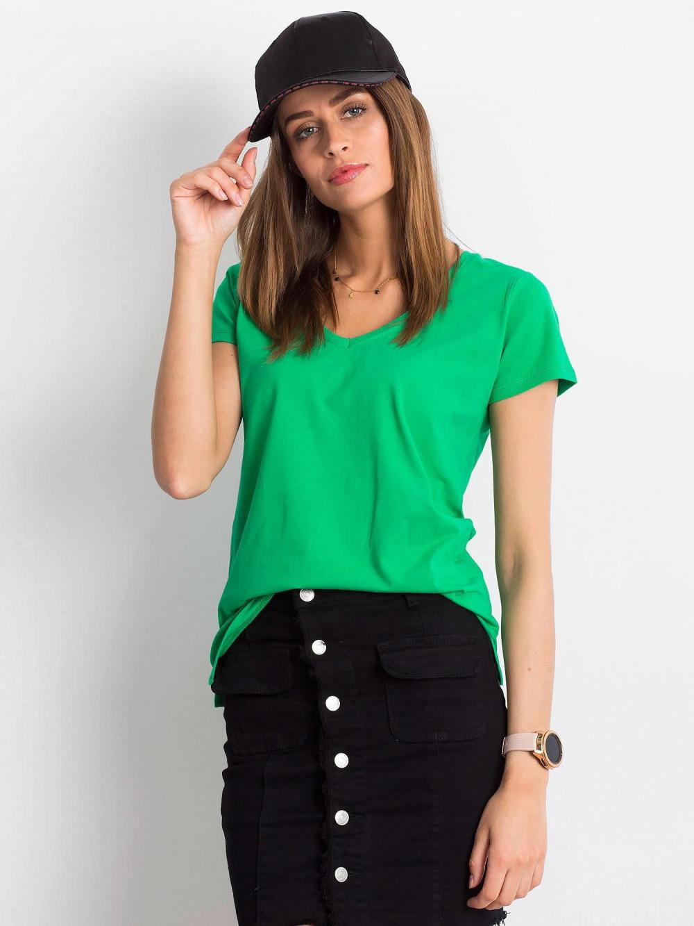 Zielony t-shirt z dekoltem V-Neck Amy 1