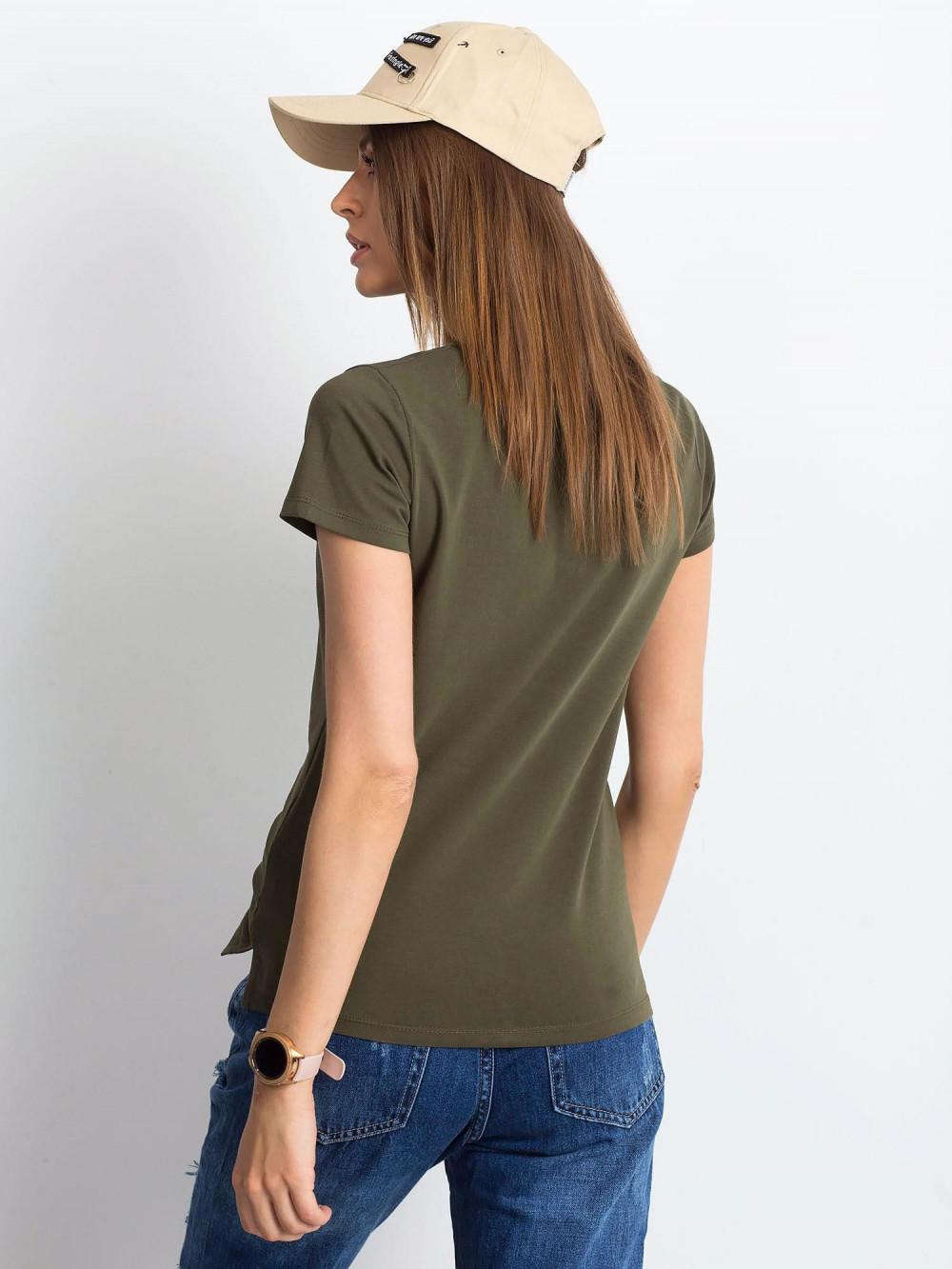 Khaki t-shirt z dekoltem V-Neck Amy 3