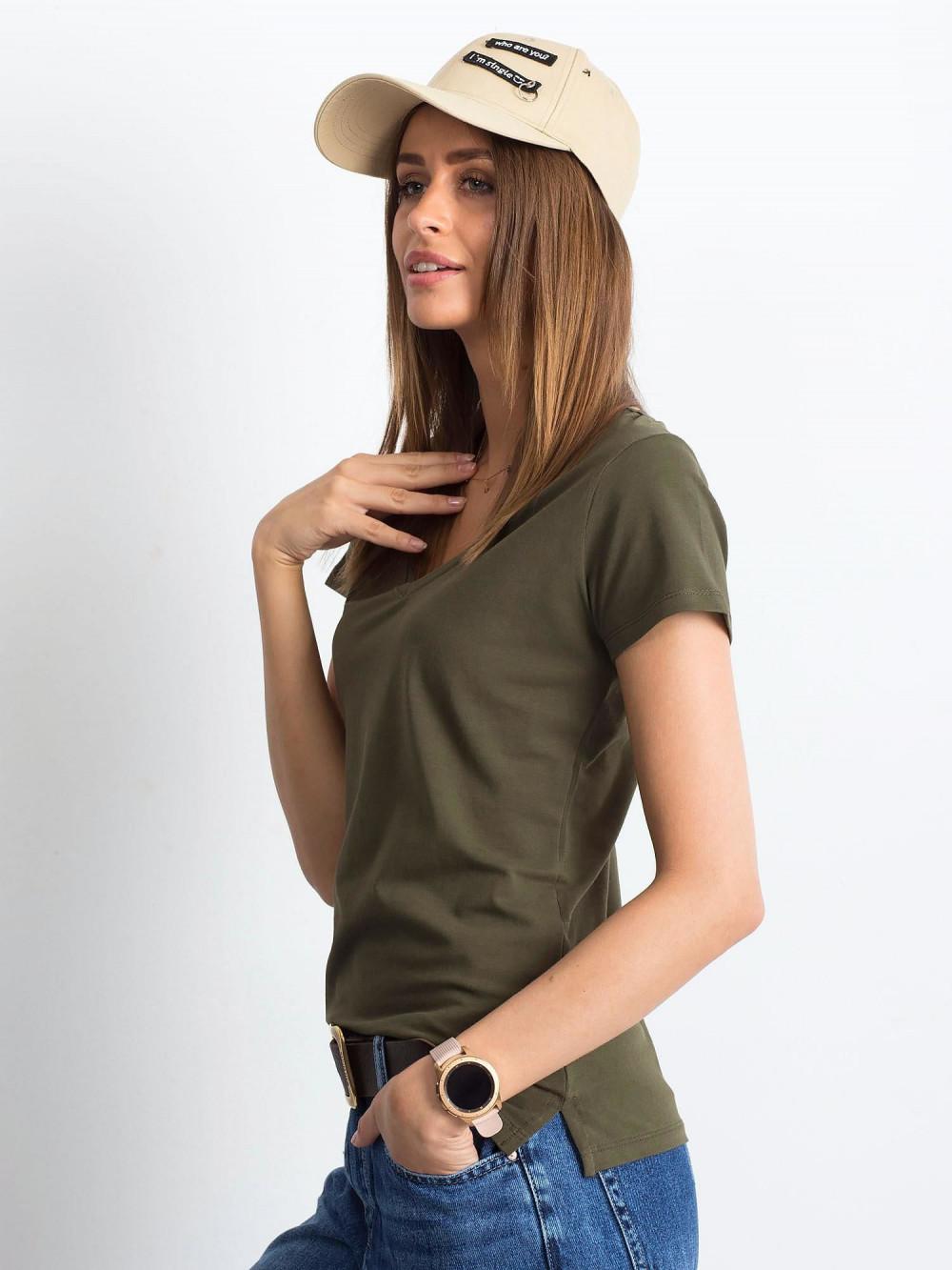 Khaki t-shirt z dekoltem V-Neck Amy 2
