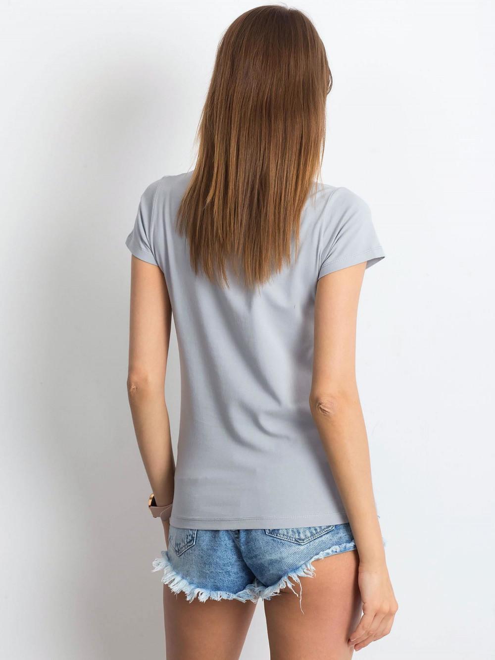Jasnoszary t-shirt z dekoltem V-Neck Amy 3