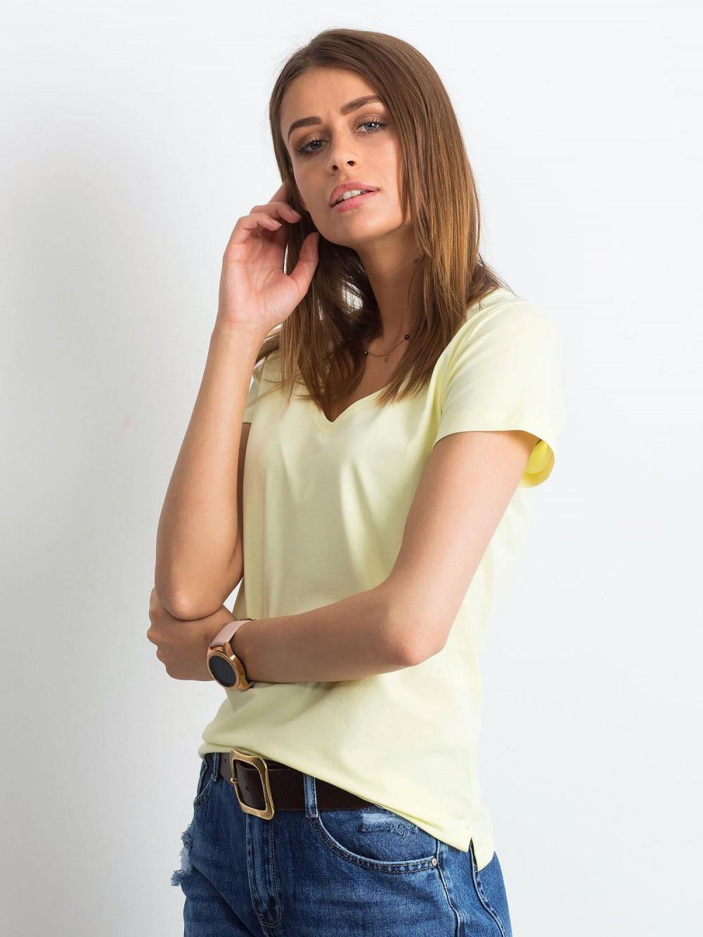Jasnożółty t-shirt z dekoltem V-Neck Amy 2