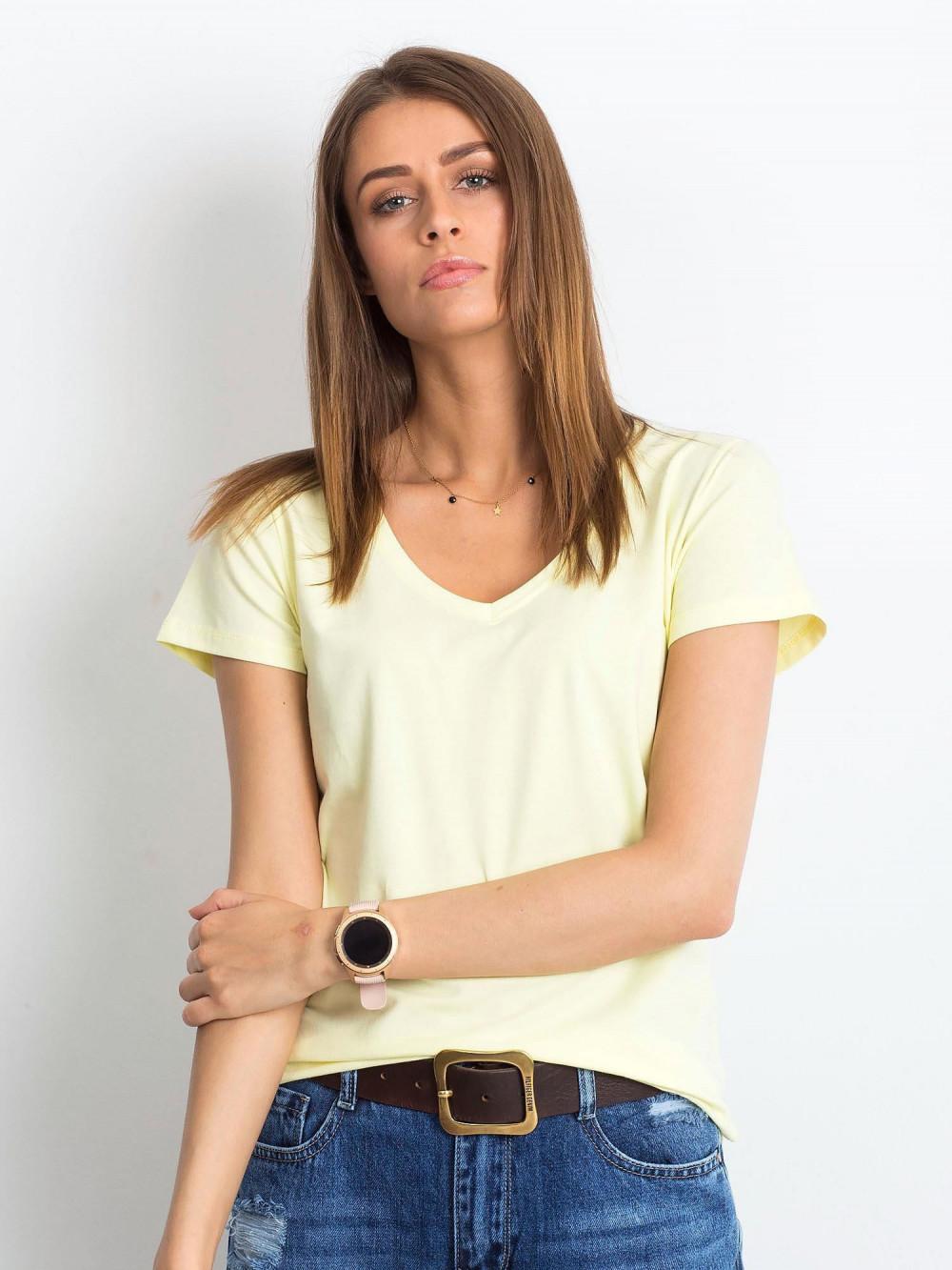Jasnożółty t-shirt z dekoltem V-Neck Amy 1