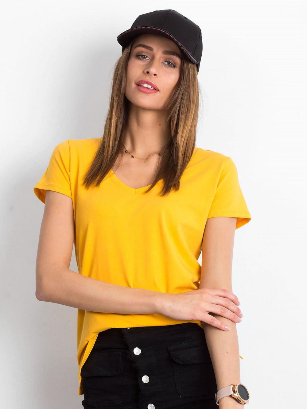 Jasnopomarańczowy t-shirt z dekoltem V-Neck Amy 1