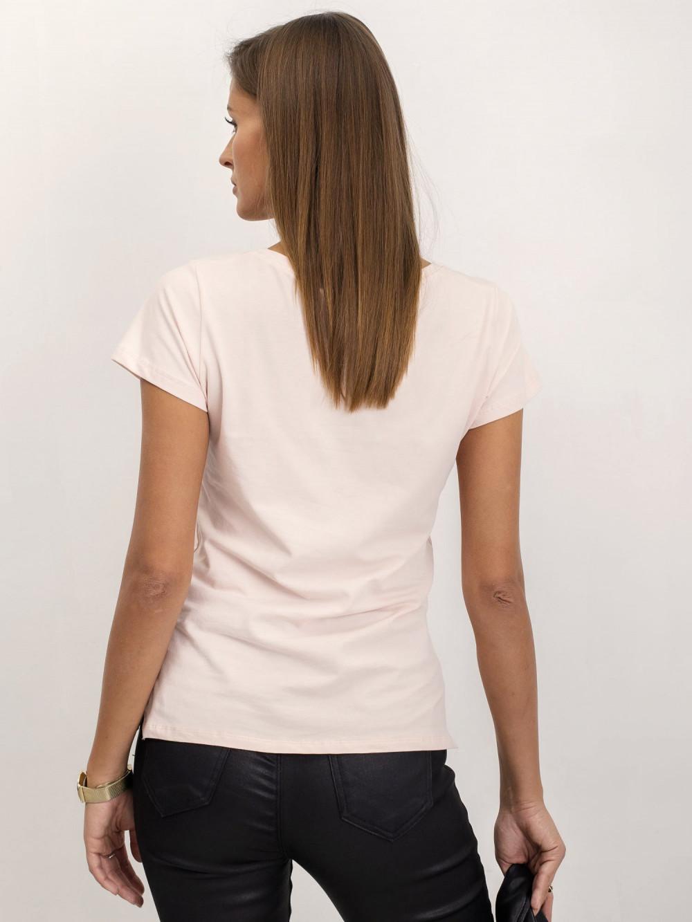 Jasnoróżowy t-shirt z dekoltem V-Neck Amy 5