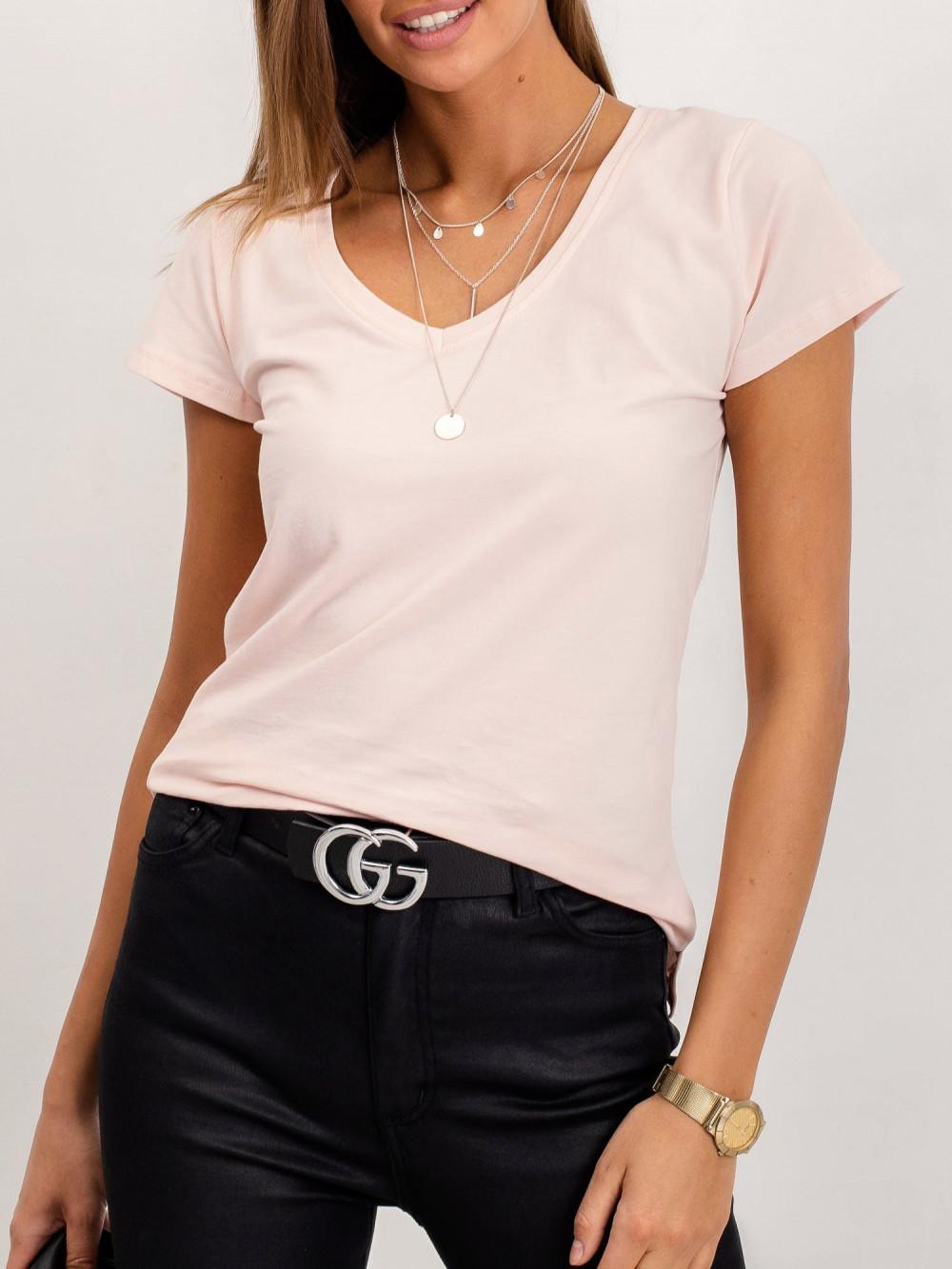 Jasnoróżowy t-shirt z dekoltem V-Neck Amy 2
