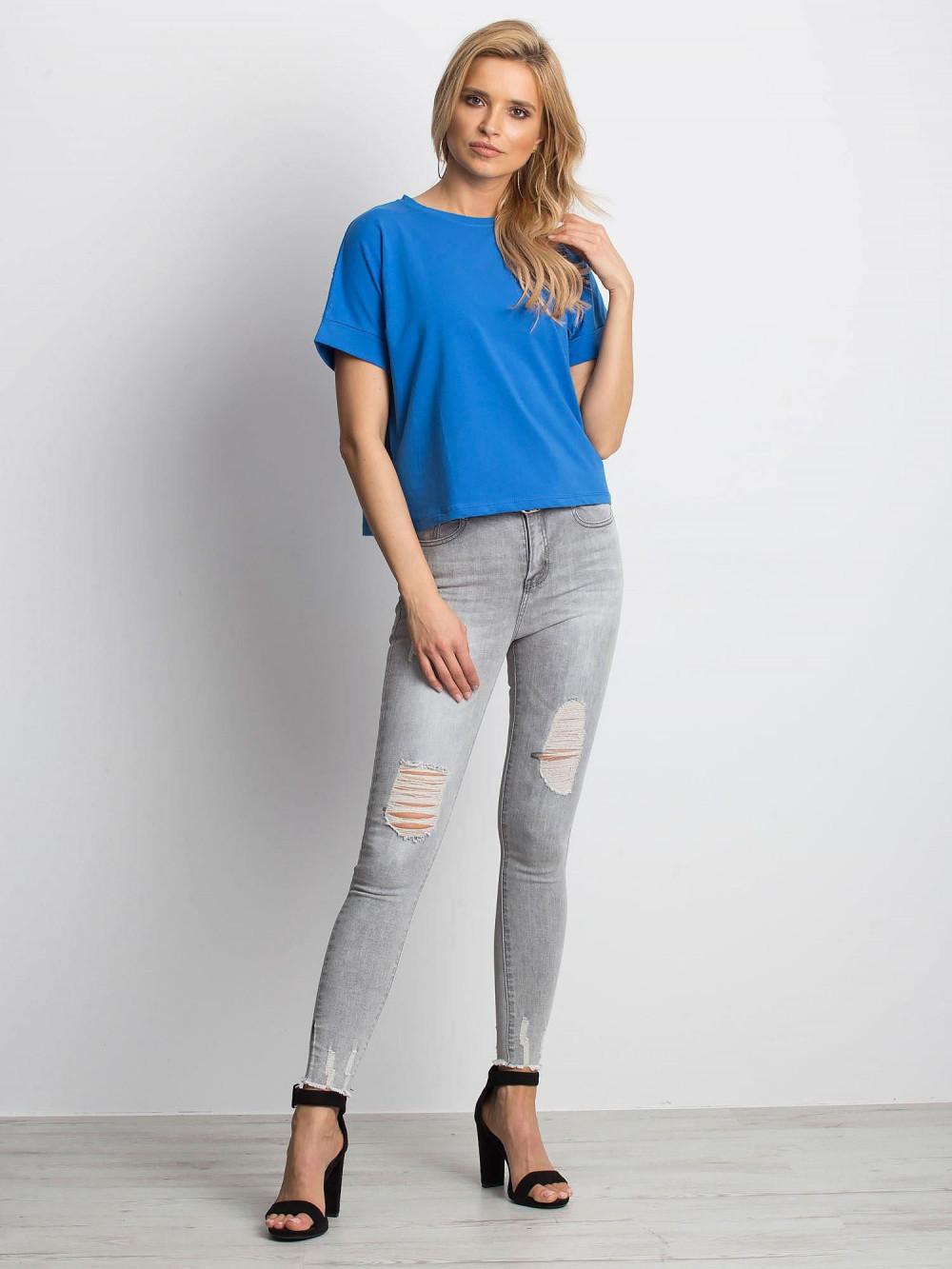 Ciemnoniebieski luźny t-shirt Blink 3