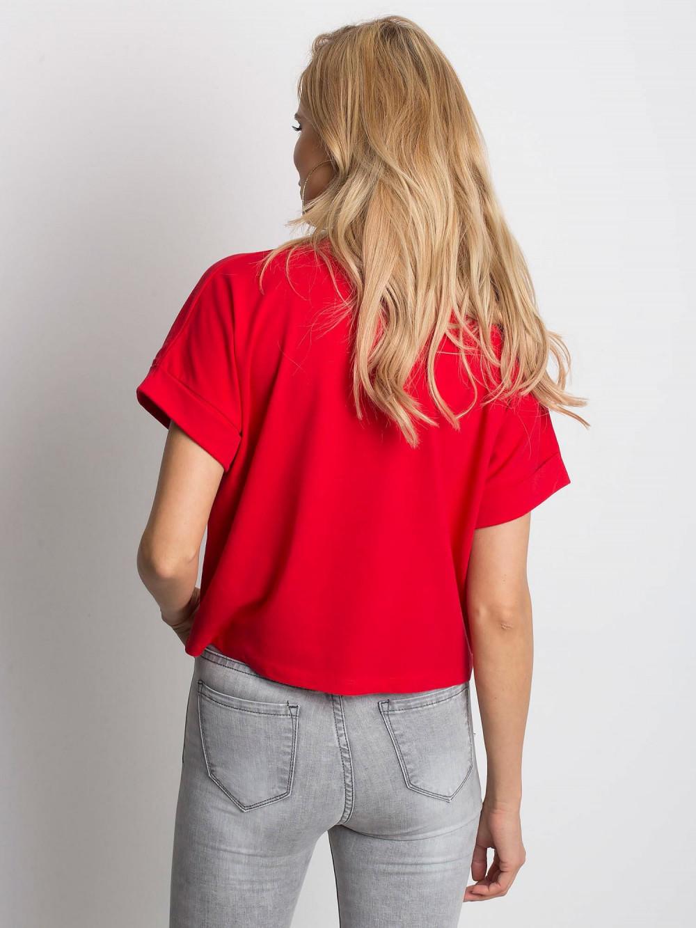 Czerwony luźny t-shirt Blink 4
