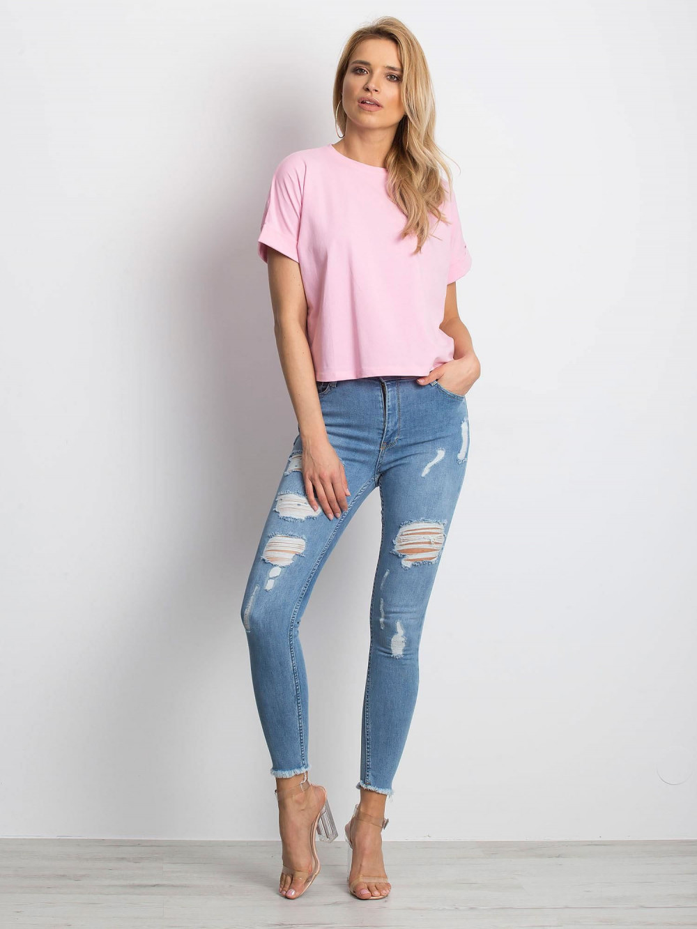 Różowy luźny t-shirt Blink 3