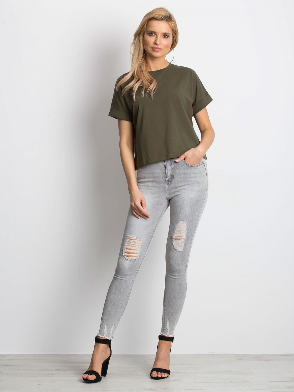 Khaki luźny t-shirt Blink 3