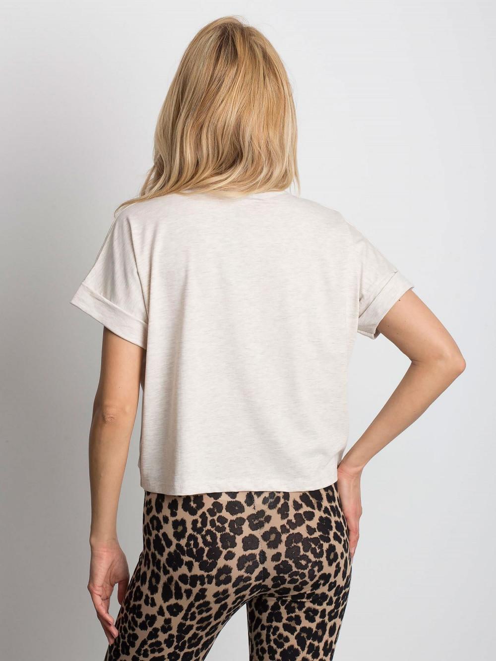 Beżowy melanżowy luźny t-shirt Blink 4