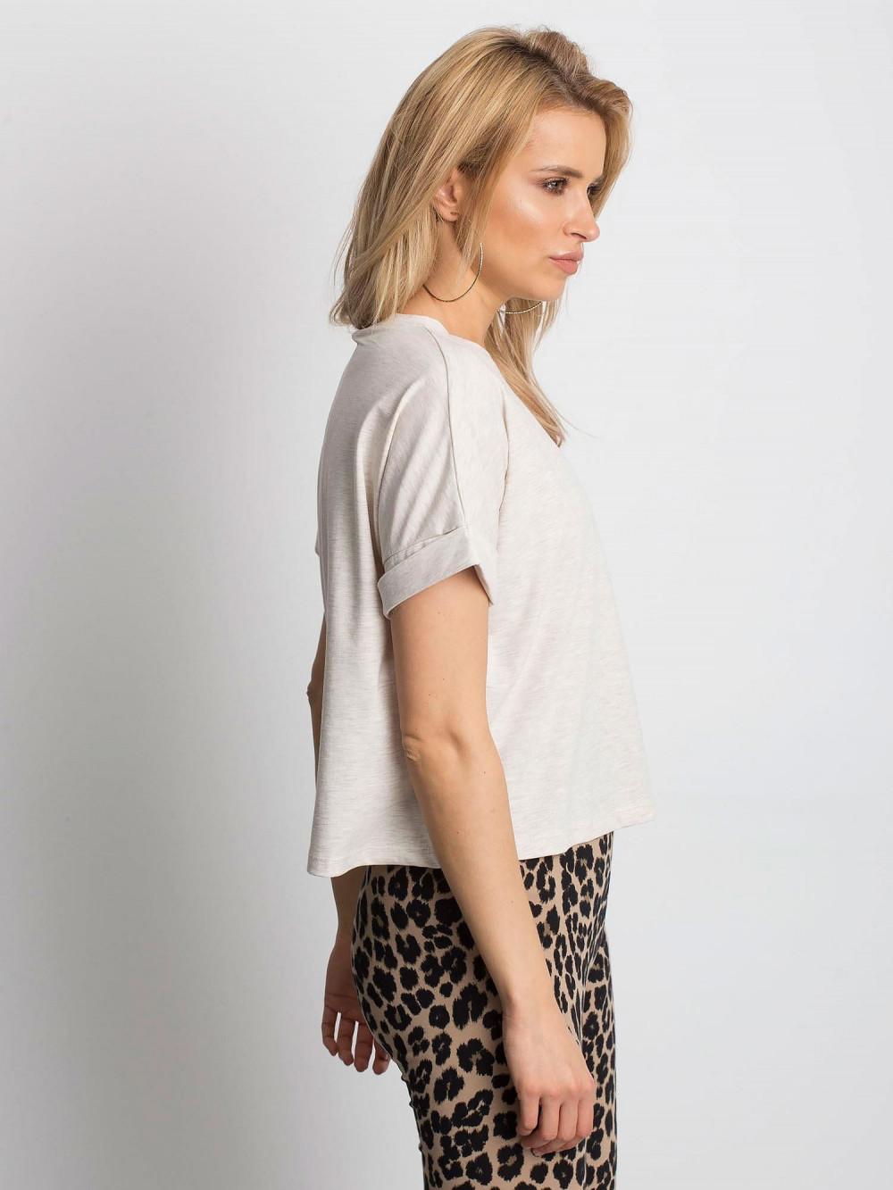 Beżowy melanżowy luźny t-shirt Blink 3