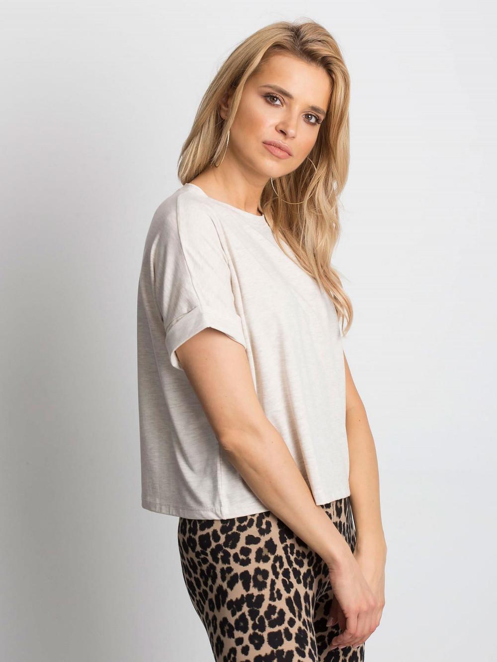 Beżowy melanżowy luźny t-shirt Blink 2