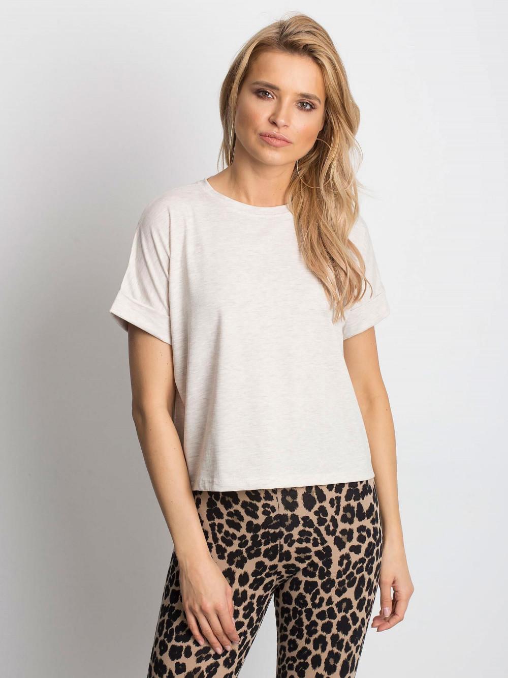Beżowy melanżowy luźny t-shirt Blink 1