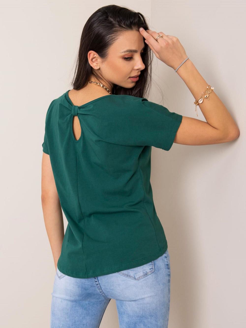 Ciemnozielony t-shirt z wycięciem na plecach Sofie 2