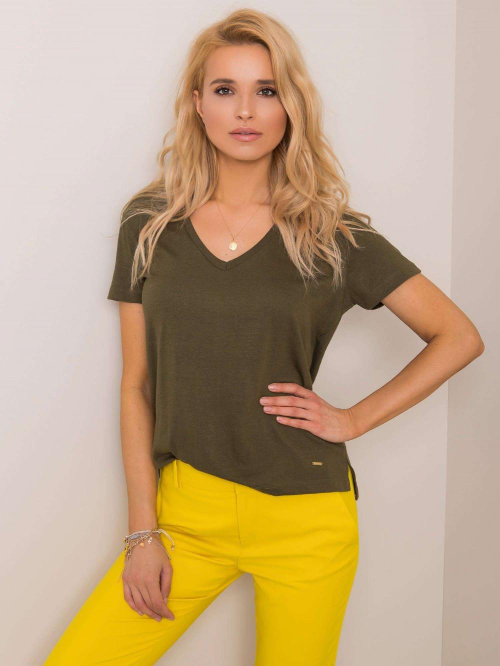 Khaki pro-ekologiczny t-shirt V-Neck Soft 1
