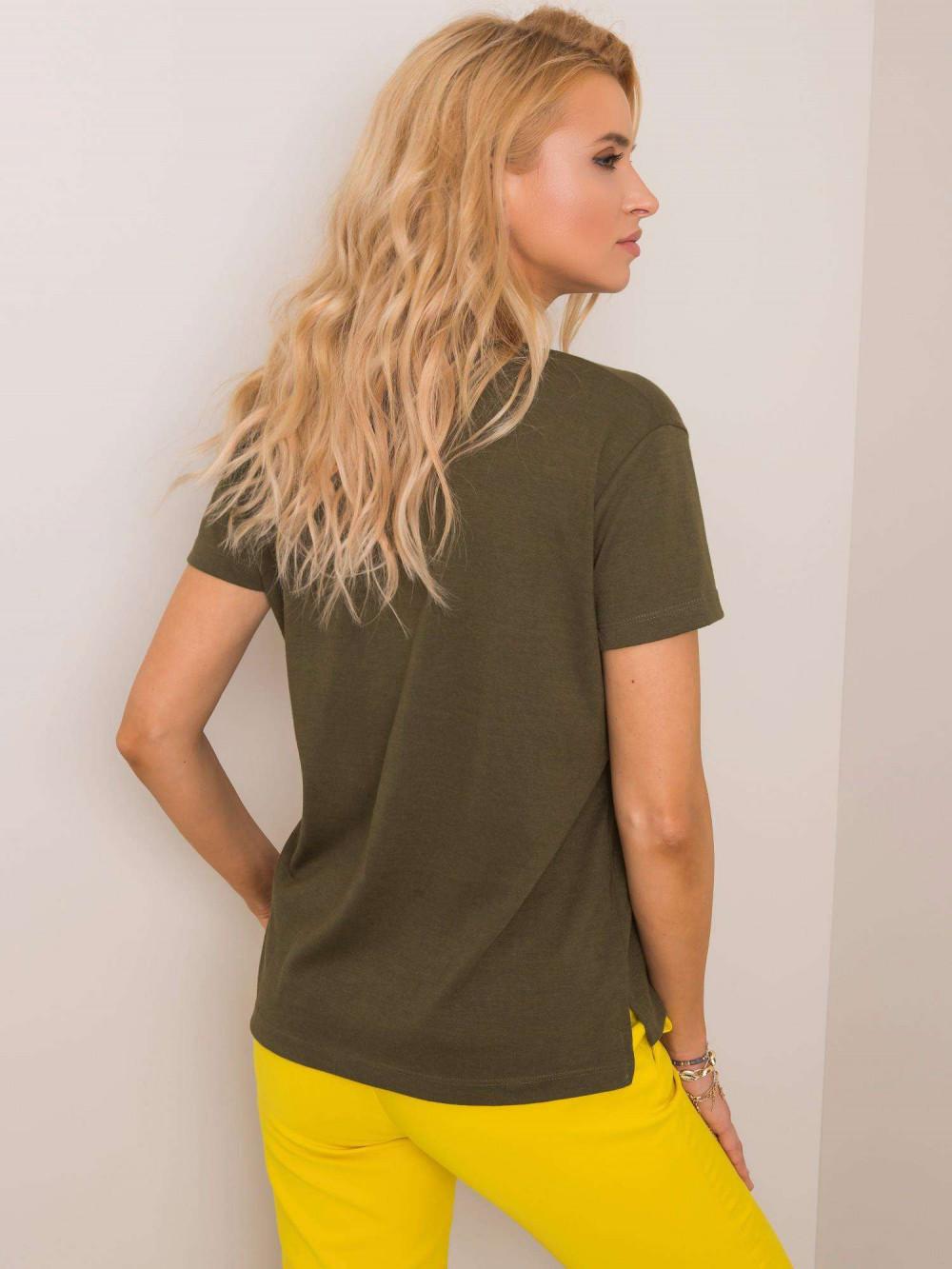 Khaki pro-ekologiczny t-shirt V-Neck Soft 2