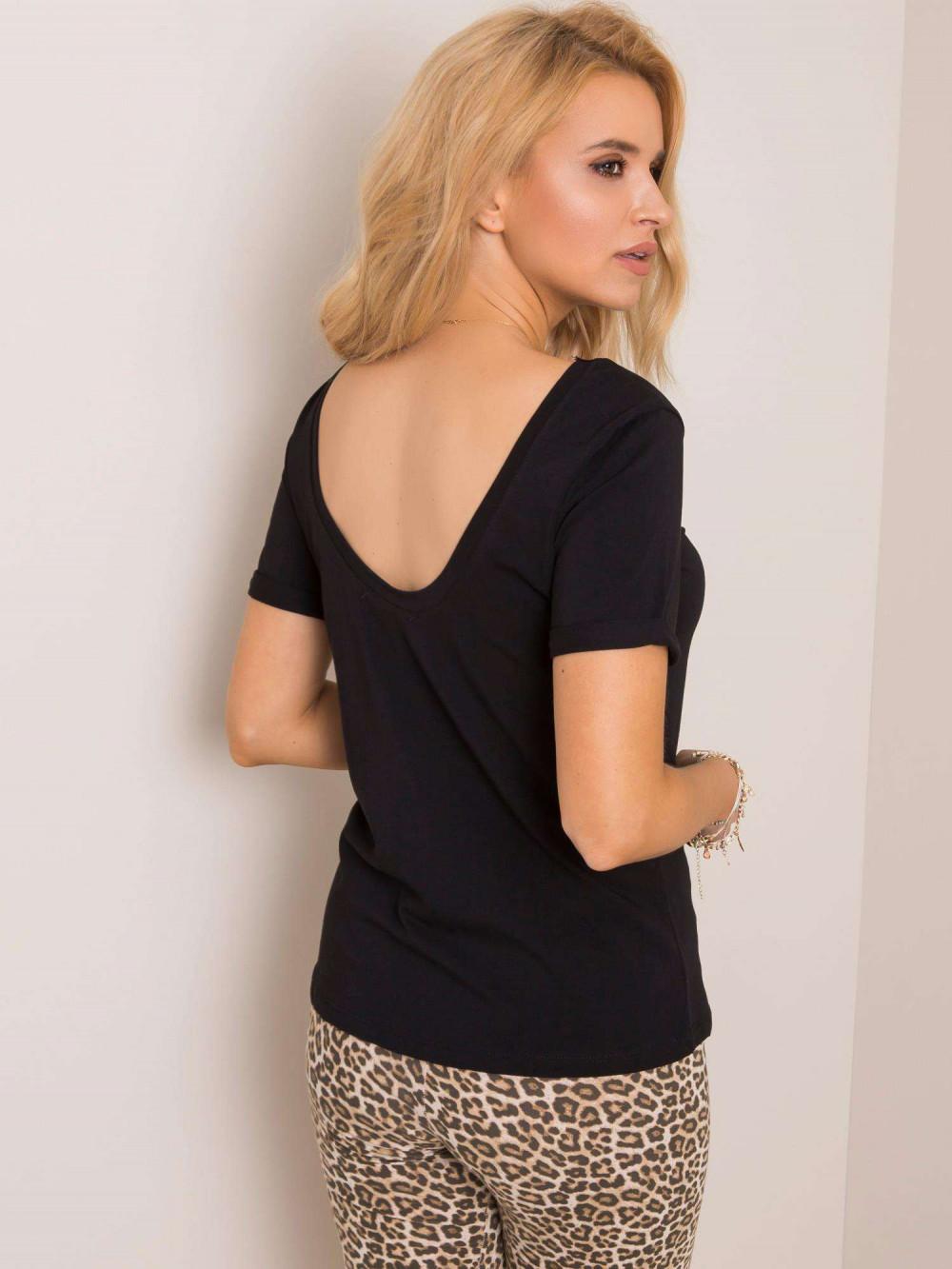 Czarny t-shirt z wycięciem O na plecach Vama 1