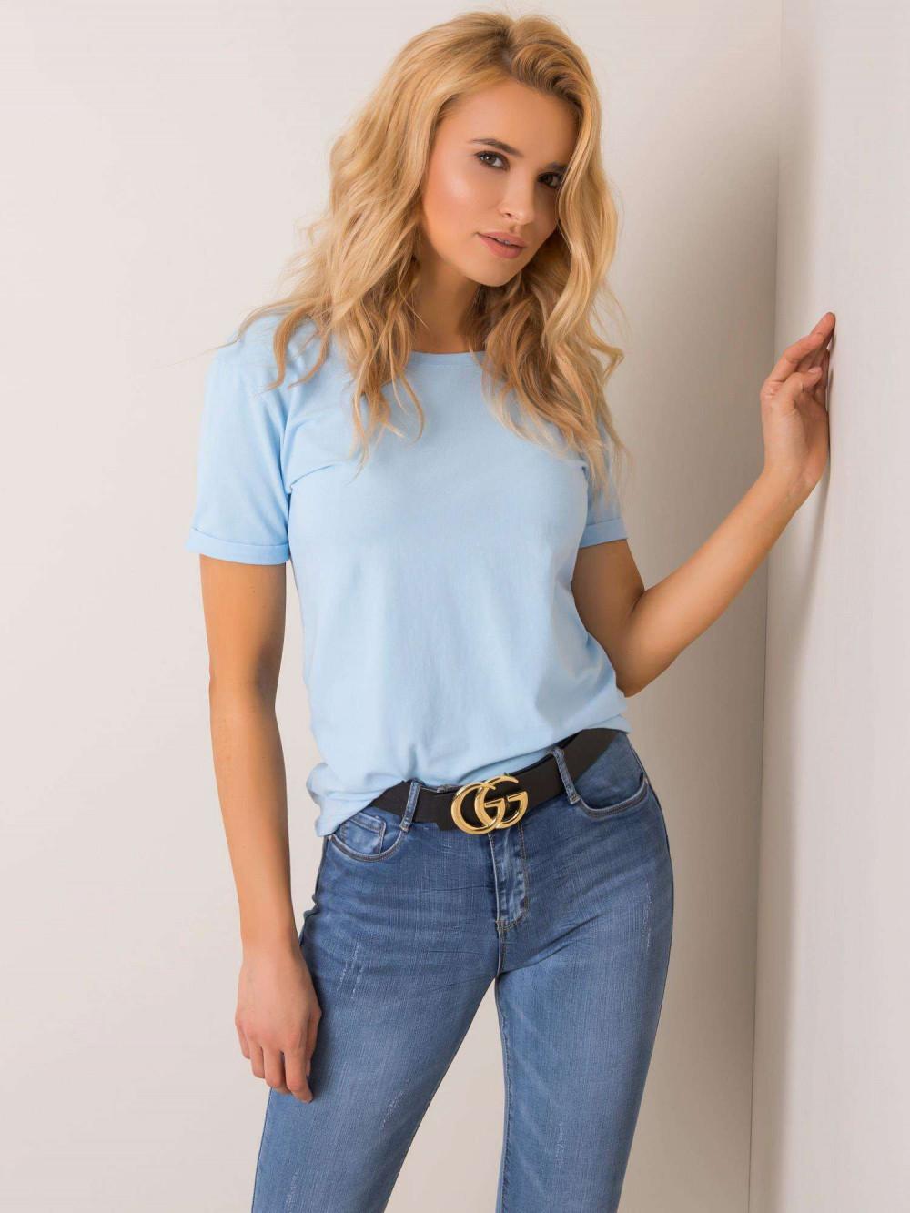 Jasnoniebieski t-shirt z wycięciem O na plecach Vama 2