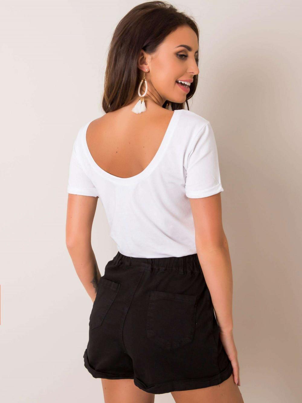 Biały t-shirt z wycięciem O na plecach Vama 1