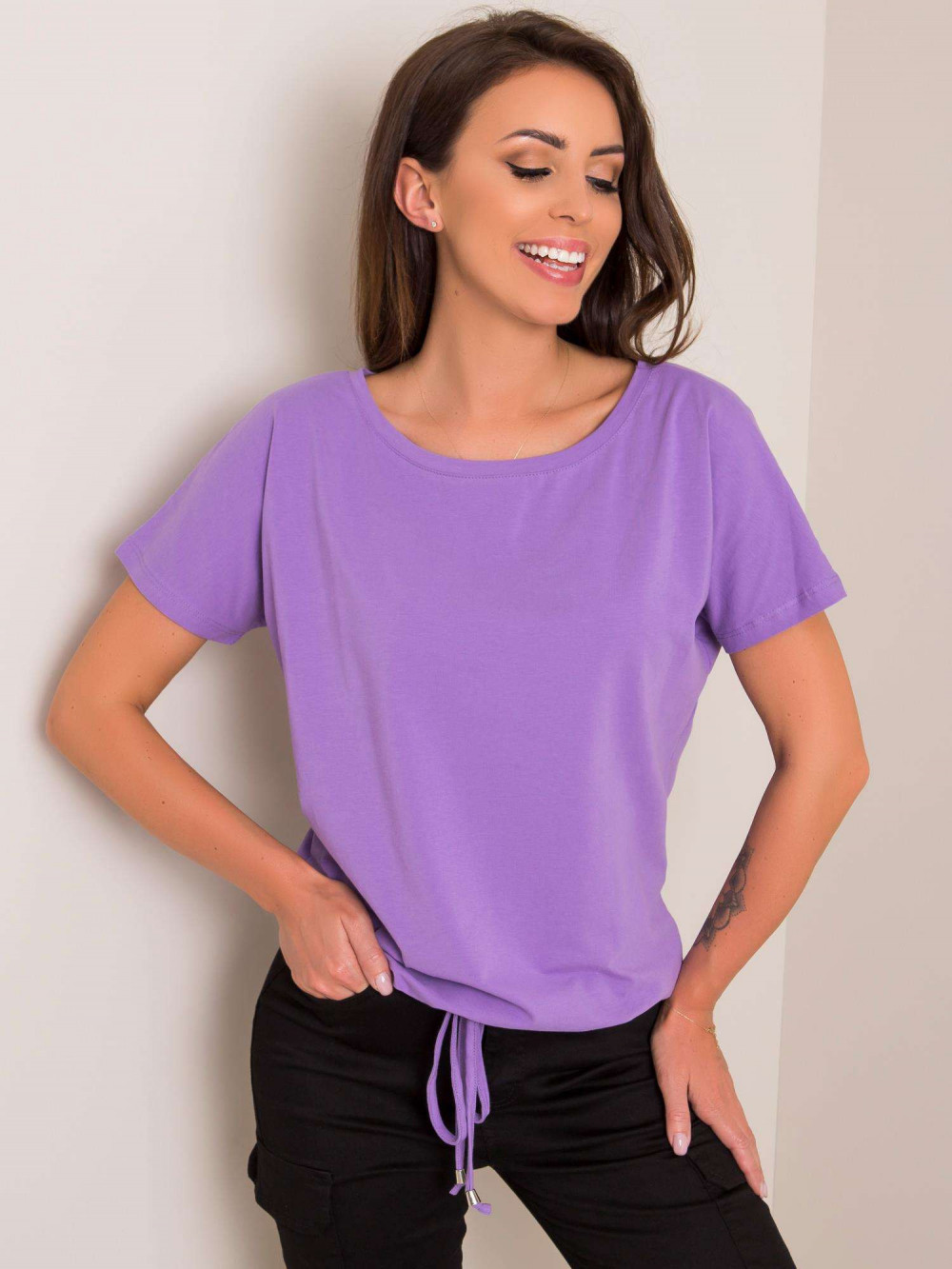 Fioletowy t-shirt z wiązaniem Faso 1