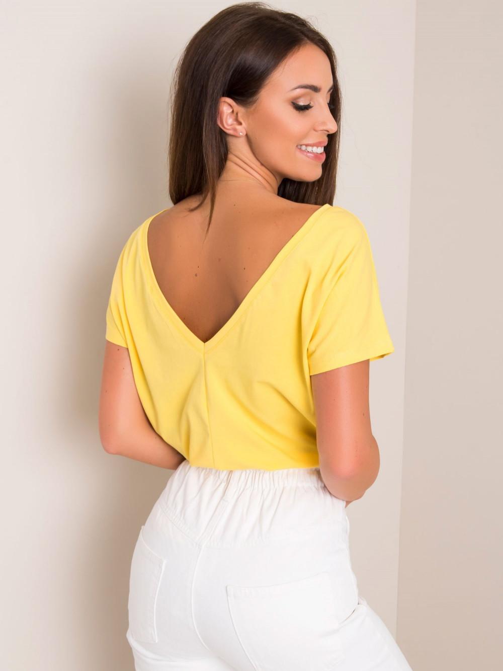 Żółty t-shirt z wycięciem V na plecach Sharon 1