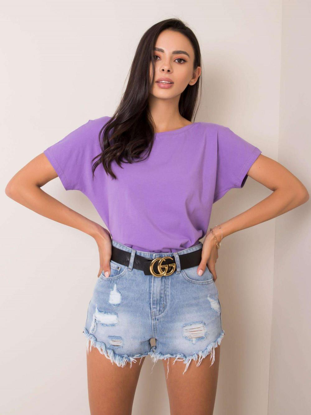 Fioletowy t-shirt z wycięciem V na plecach Sharon 2