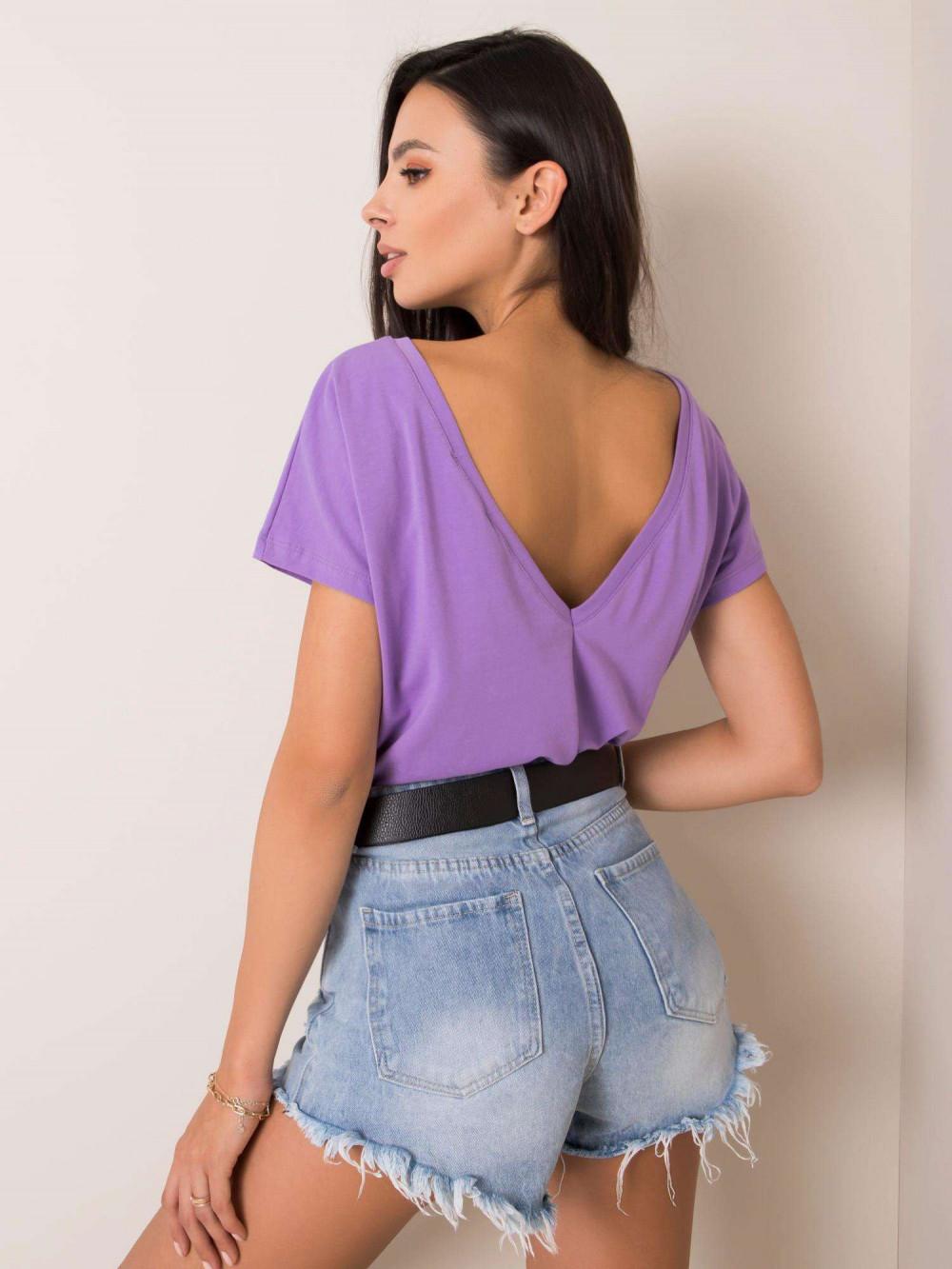 Fioletowy t-shirt z wycięciem V na plecach Sharon 1