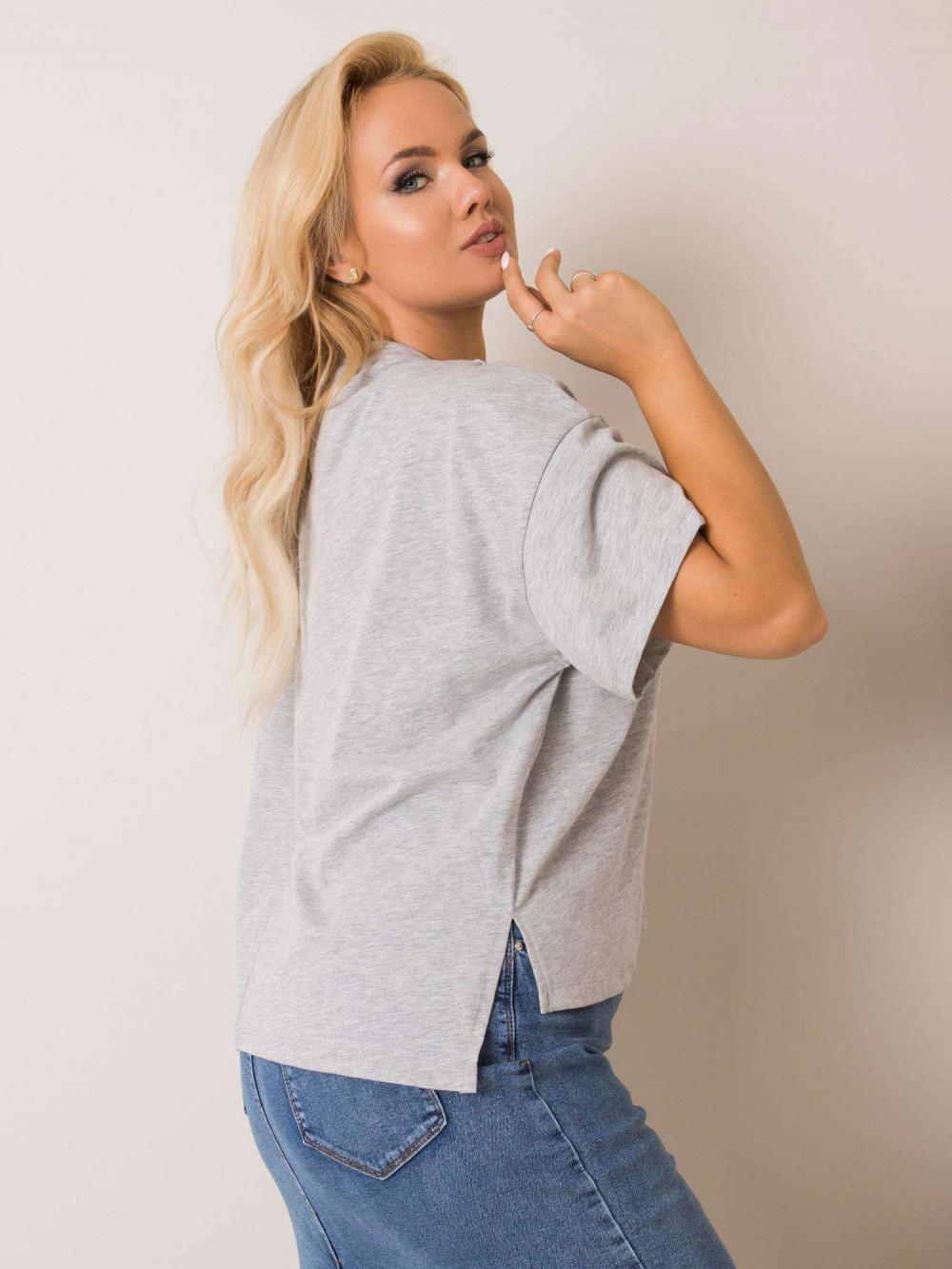 Szary t-shirt plus size Wish 2