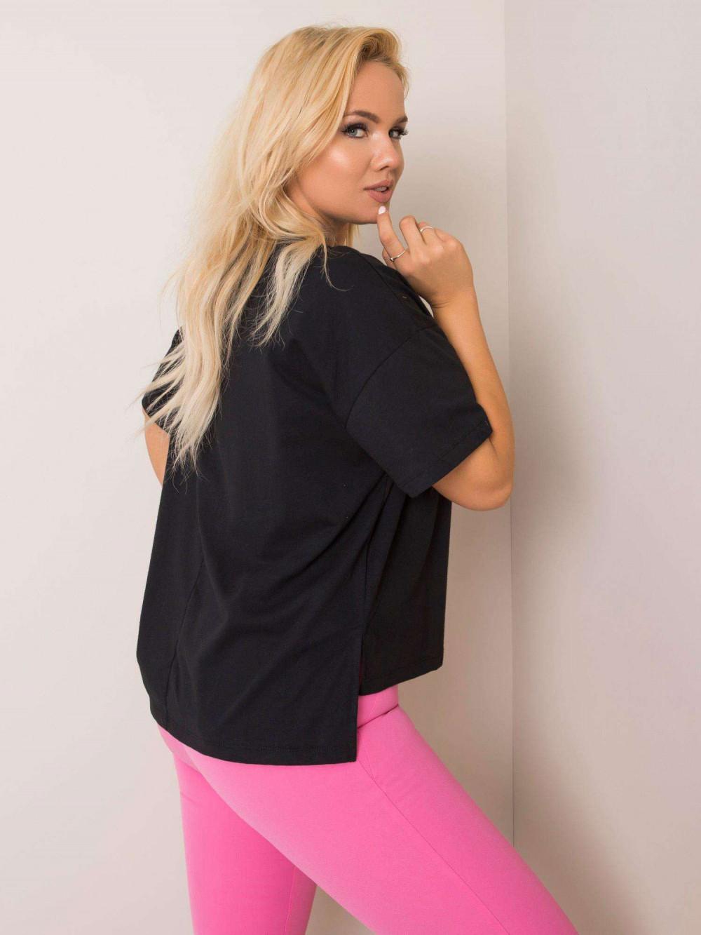 Czarny t-shirt plus size Wish 2