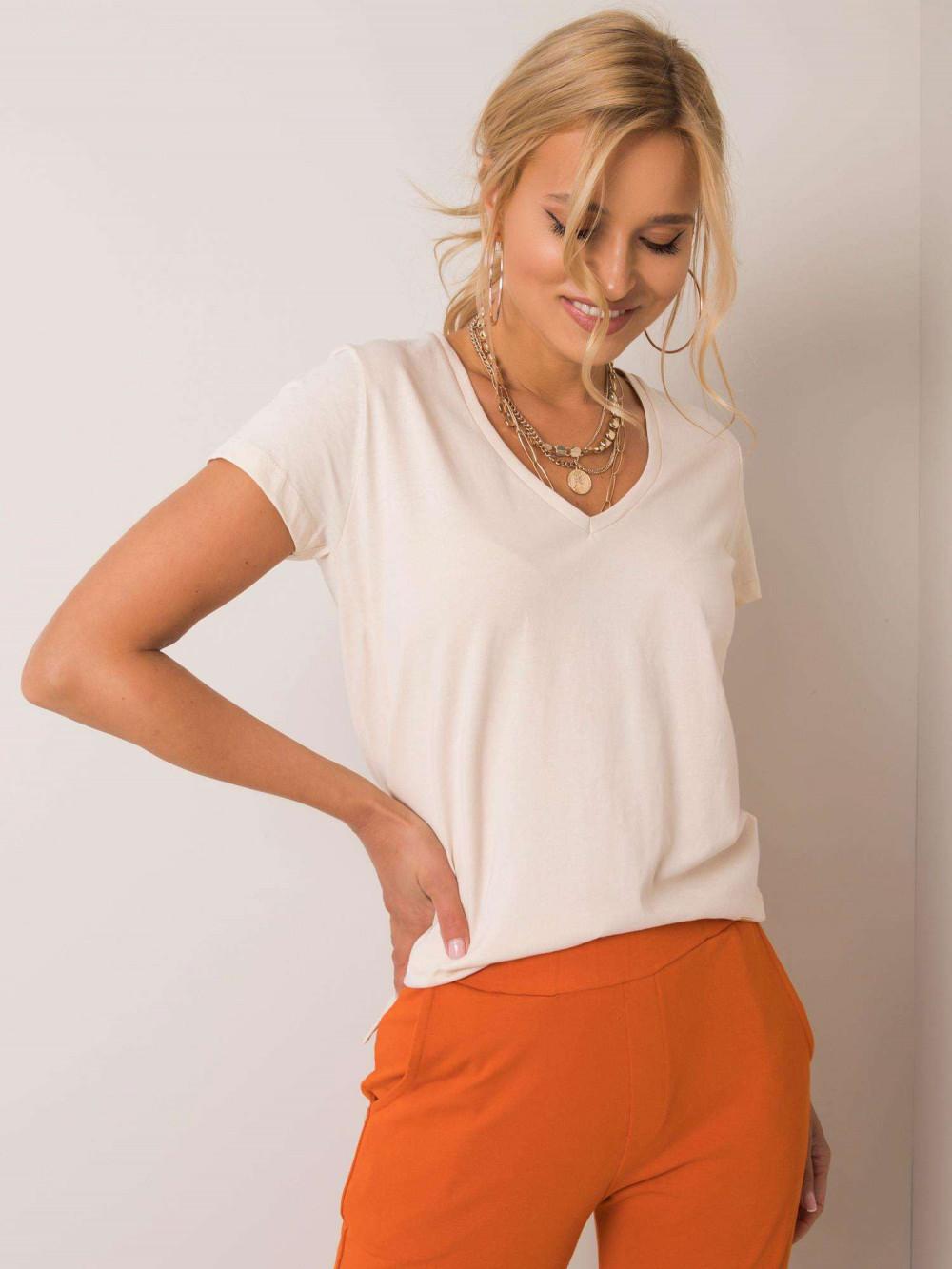 Beżowy pro-ekologiczny t-shirt V-Neck Soft 1