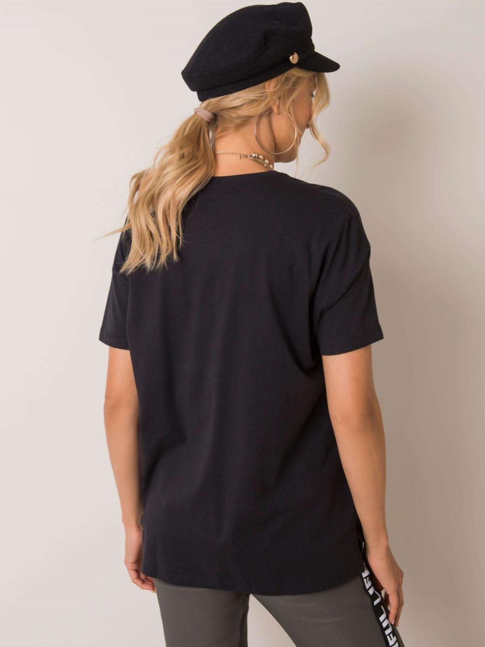 Czarny pro-ekologiczny t-shirt O-Neck Tree 2