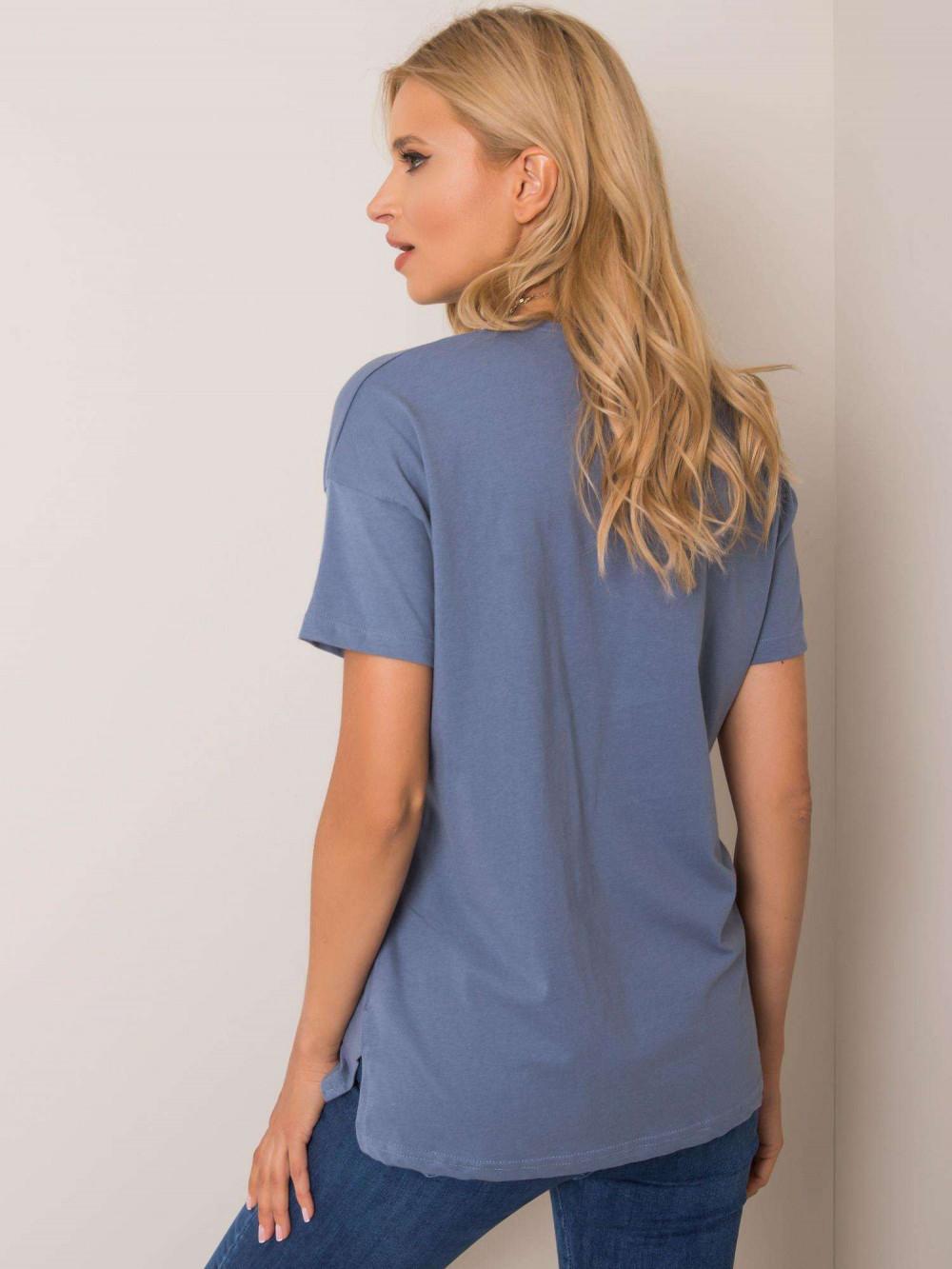Niebieski pro-ekologiczny t-shirt O-Neck Tree 2