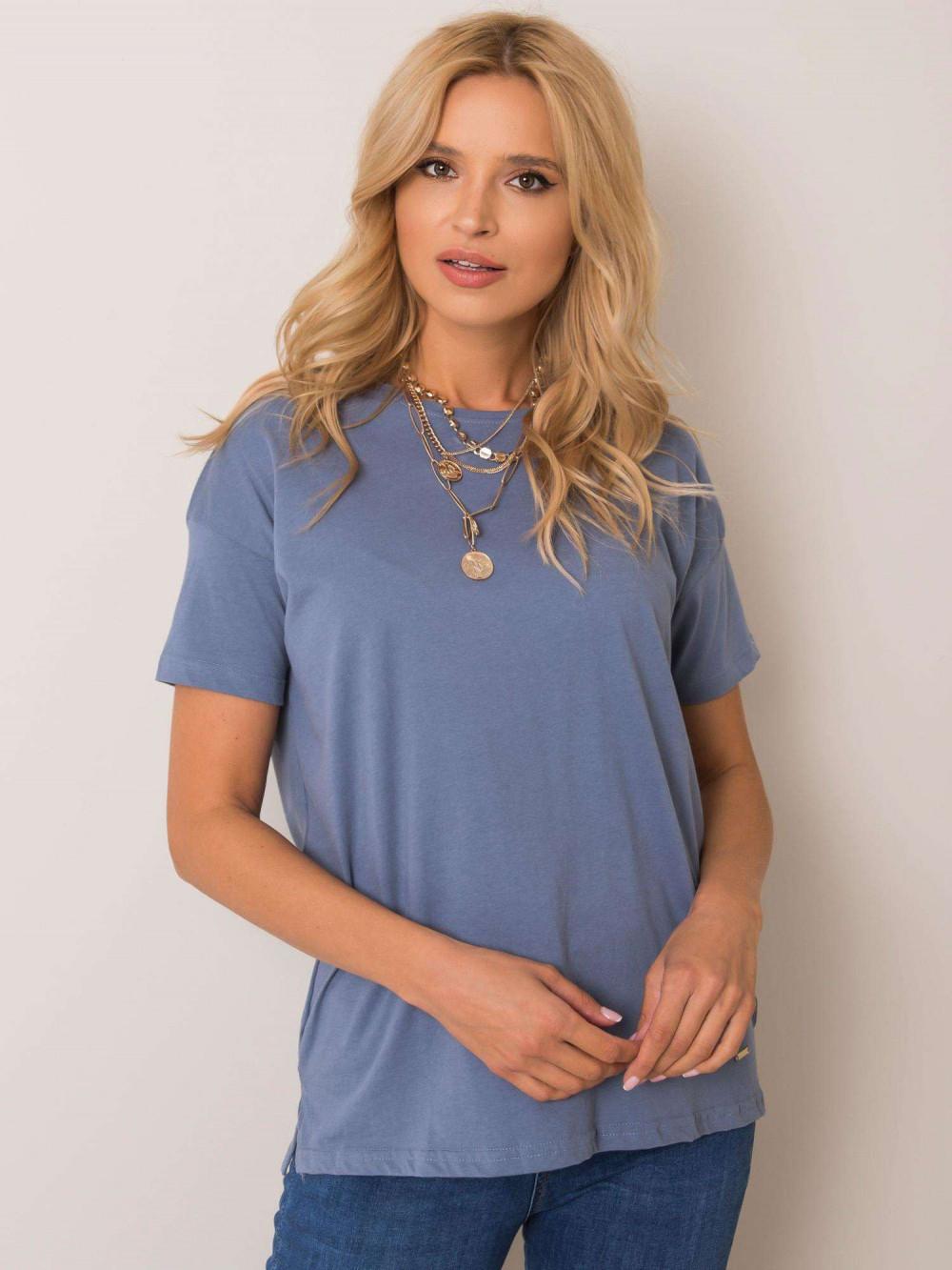 Niebieski pro-ekologiczny t-shirt O-Neck Tree 1