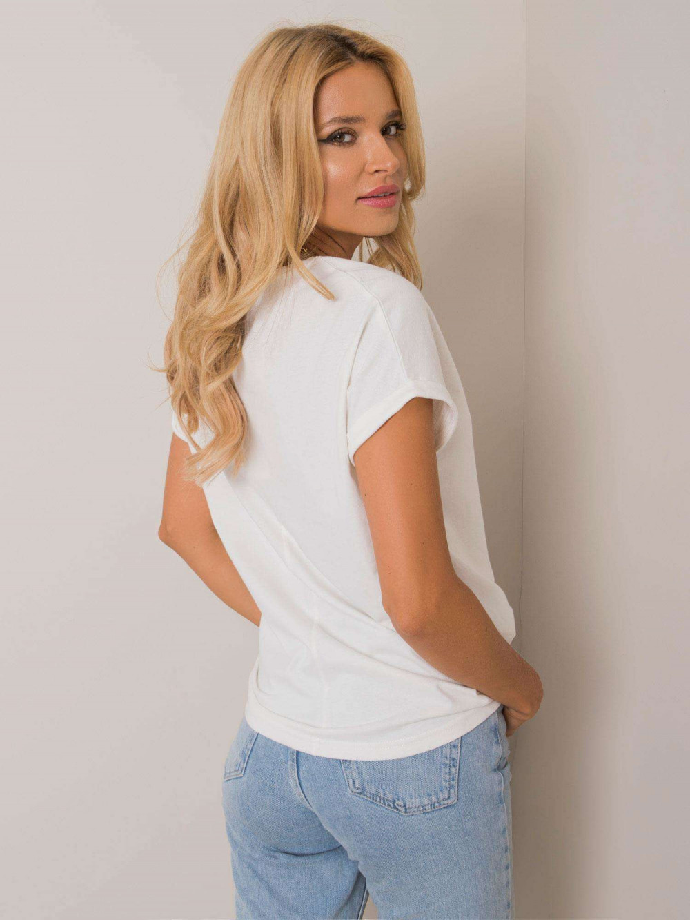 Ecru pro-ekologiczny t-shirt z kieszonką Twig 2