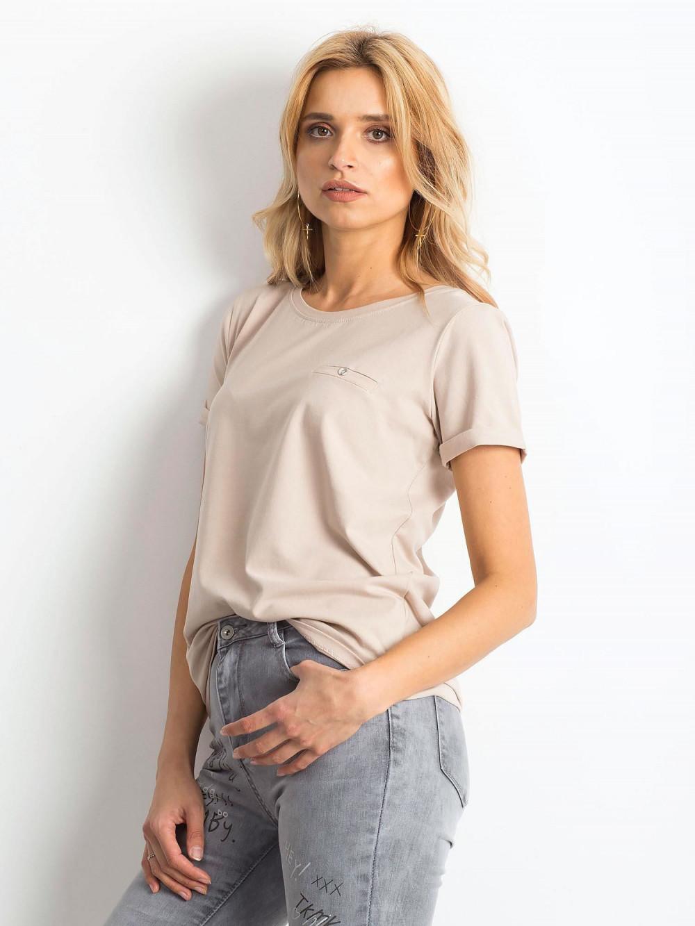 Jasnokawowy t-shirt O-Neck Kasom 2