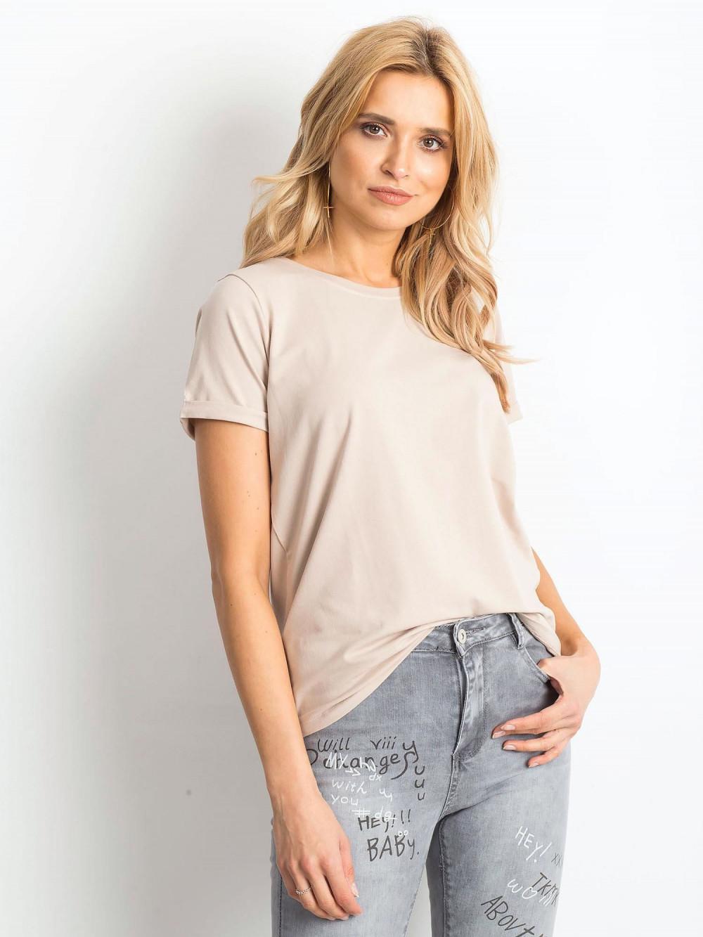 Jasnokawowy t-shirt O-Neck Kasom 1