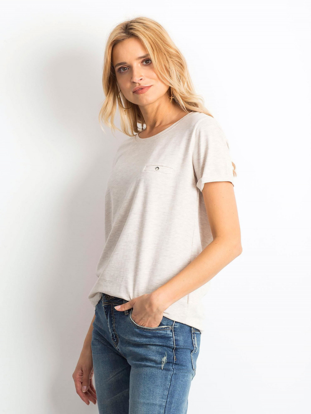 Beżowy melanżowy t-shirt O-Neck Kasom 2