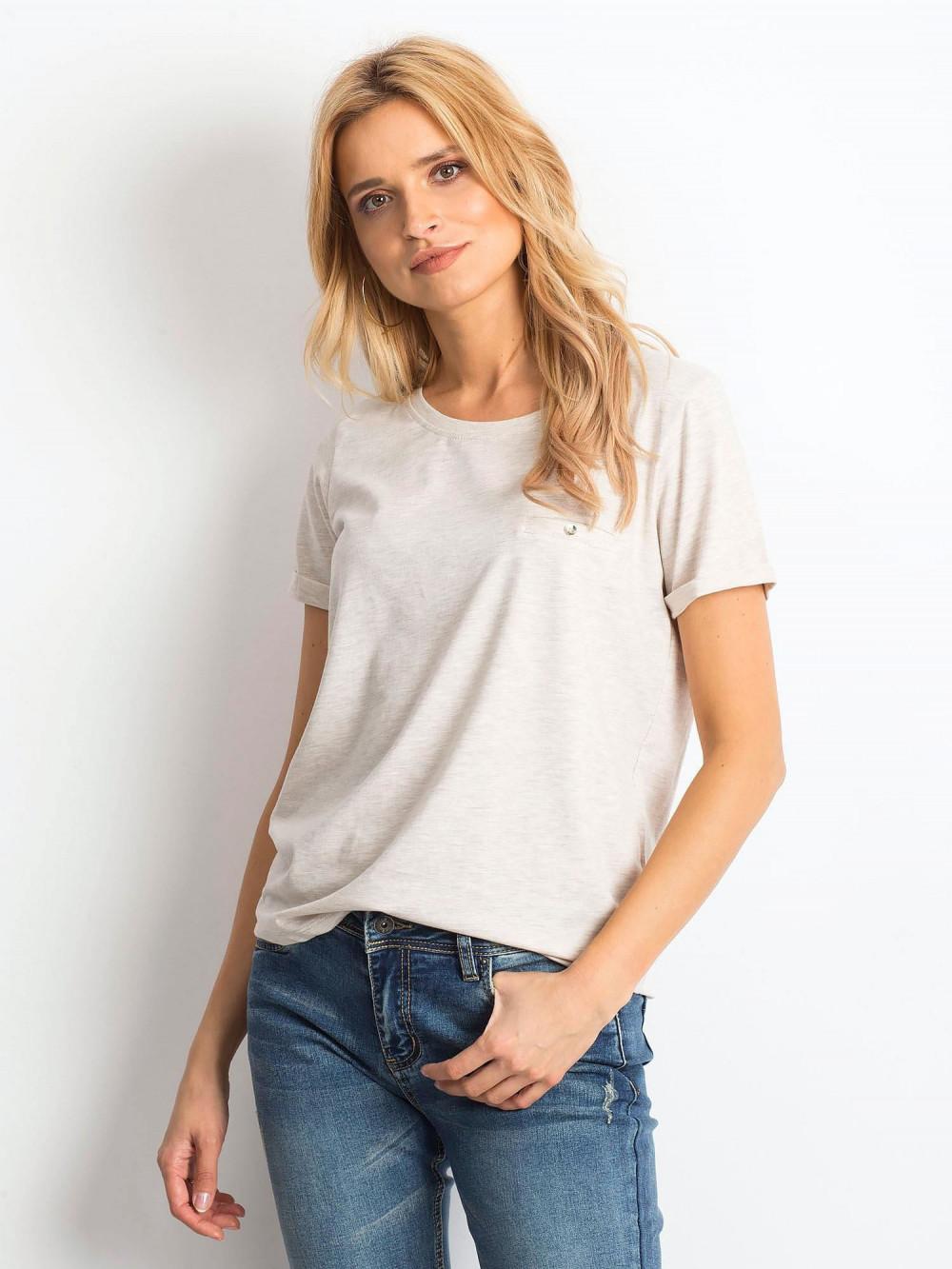 Beżowy melanżowy t-shirt O-Neck Kasom 1