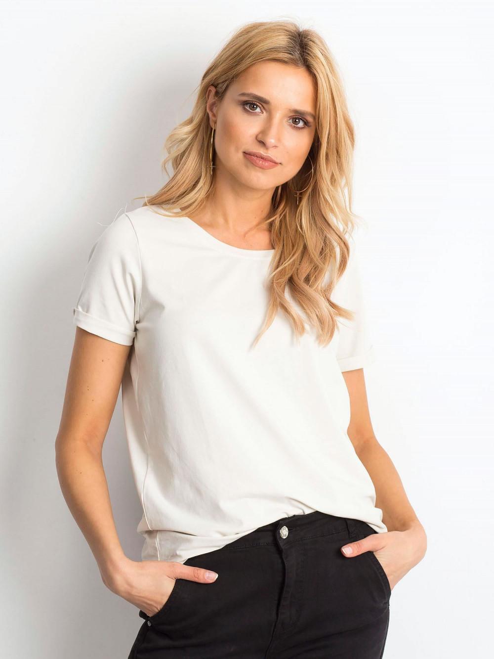 Beżowy t-shirt O-Neck Kasom 1