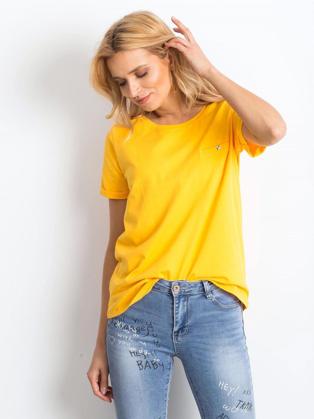 Jasnopomarańczowy t-shirt O-Neck Kasom 1