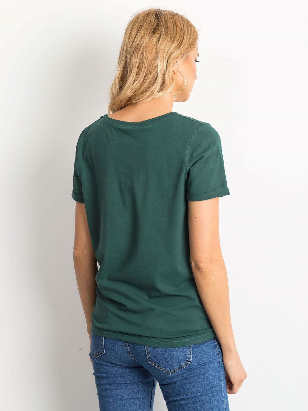 Ciemnozielony t-shirt O-Neck Kasom 4