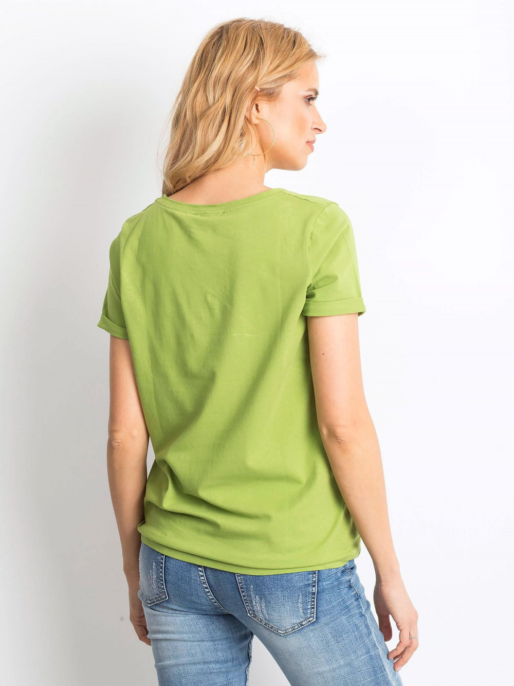 Jasnozielony t-shirt O-Neck Kasom 4