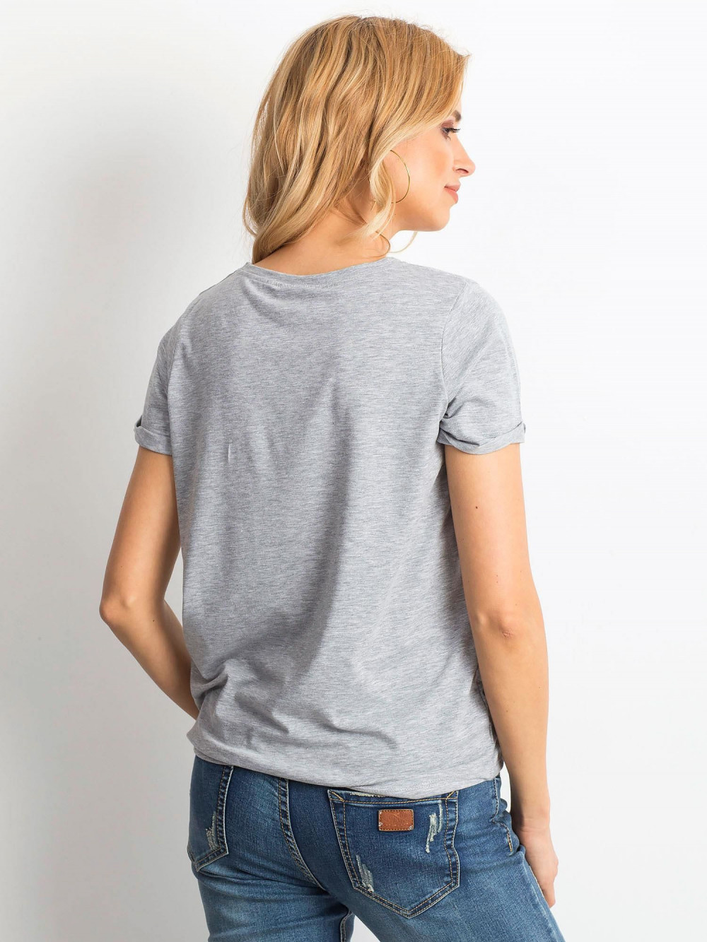 Szary t-shirt O-Neck Kasom 4