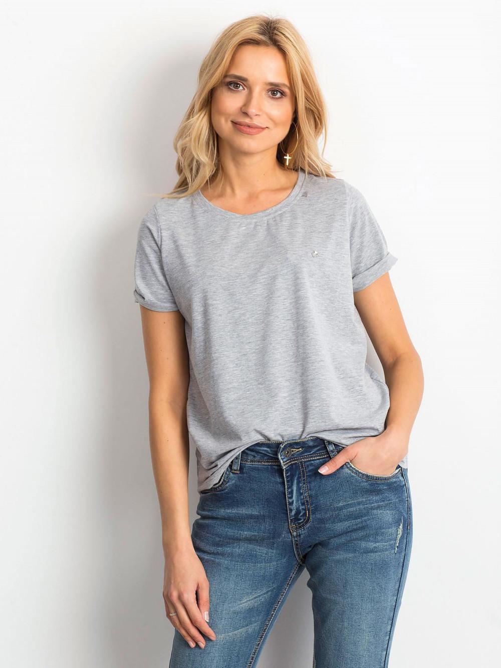 Szary t-shirt O-Neck Kasom 1